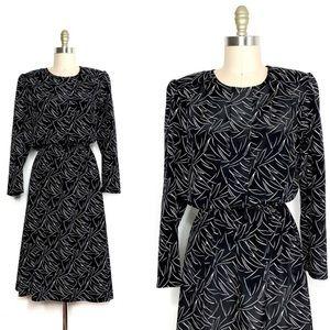 Vintage 1980s graphic print belted midi dress